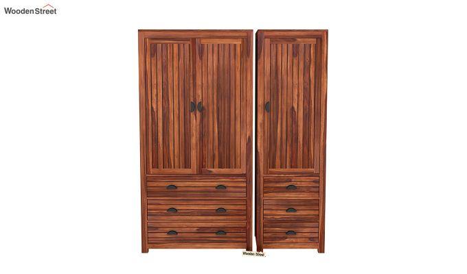 Felner 3 Door Multi Utility Wardrobe (Honey Finish)-3