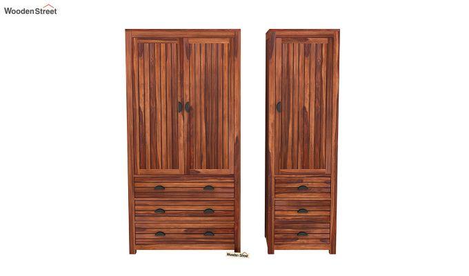 Felner 3 Door Multi Utility Wardrobe (Honey Finish)-5