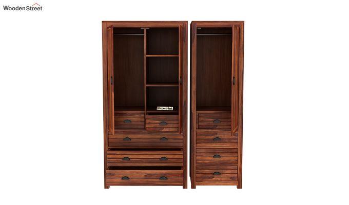 Felner 3 Door Multi Utility Wardrobe (Honey Finish)-7