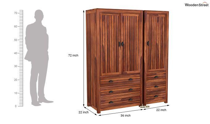 Felner 3 Door Multi Utility Wardrobe (Honey Finish)-8