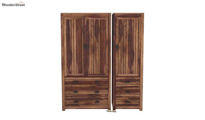 Felner 3 Door Multi Utility Wardrobe (Teak Finish)-3