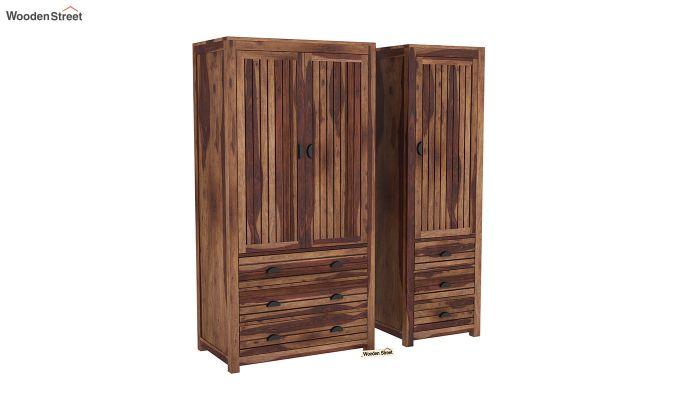 Felner 3 Door Multi Utility Wardrobe (Teak Finish)-4