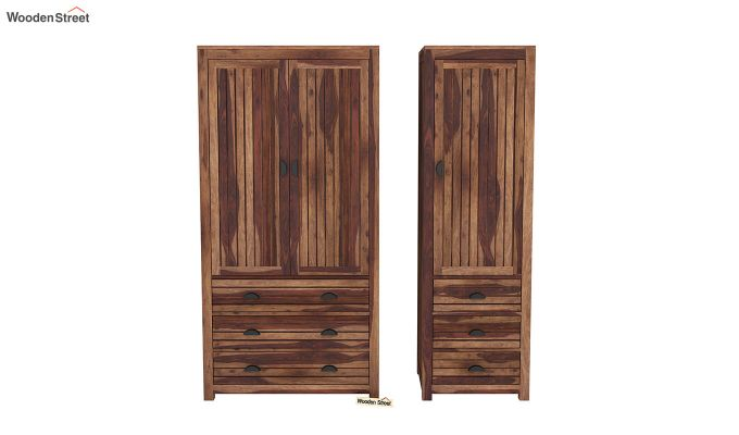Felner 3 Door Multi Utility Wardrobe (Teak Finish)-5