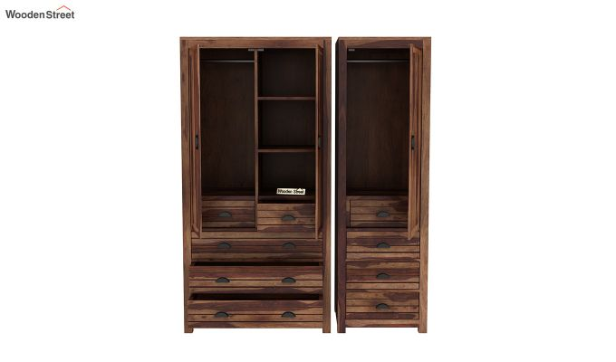 Felner 3 Door Multi Utility Wardrobe (Teak Finish)-7