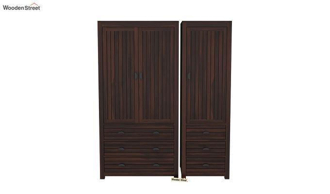 Felner 3 Door Multi Utility Wardrobe (Walnut Finish)-3