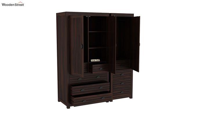 Felner 3 Door Multi Utility Wardrobe (Walnut Finish)-6