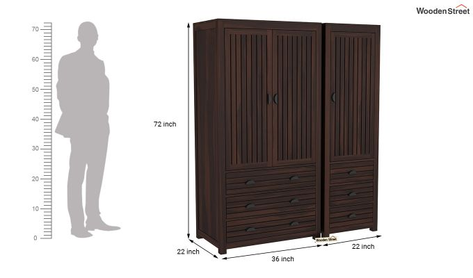 Felner 3 Door Multi Utility Wardrobe (Walnut Finish)-8