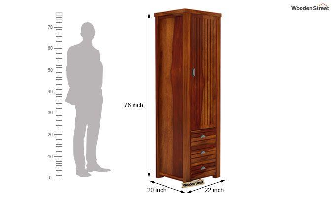 Felner 1 Door Multi Utility Wardrobe (Honey Finish)-4