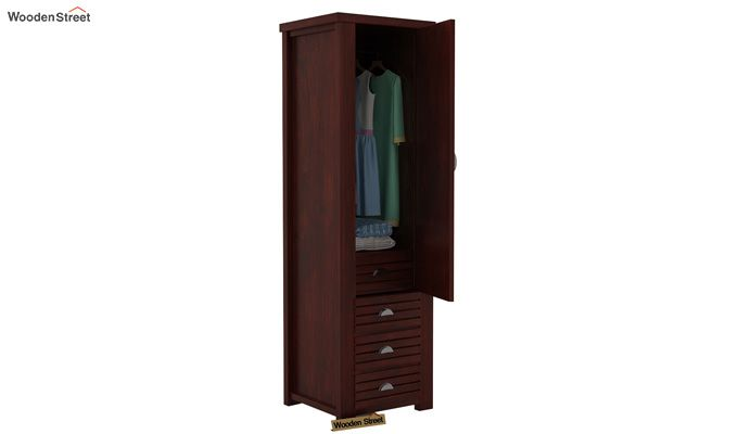 Felner 1 Door Multi Utility Wardrobe (Mahogany Finish)-3