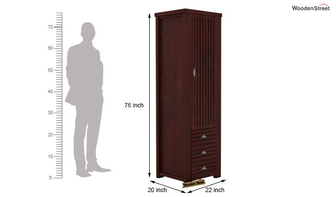 Felner 1 Door Multi Utility Wardrobe (Mahogany Finish)-4