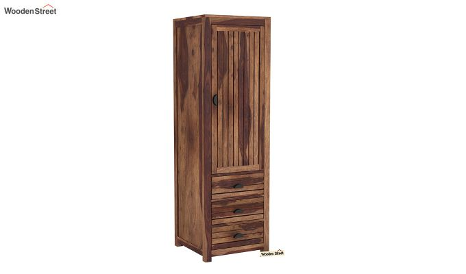 Felner 1 Door Multi Utility Wardrobe (Teak Finish)-2