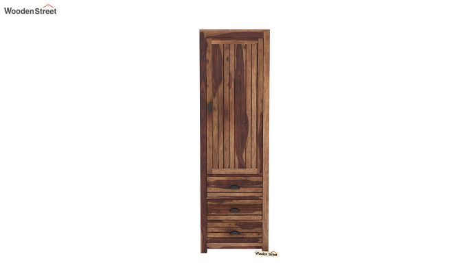 Felner 1 Door Multi Utility Wardrobe (Teak Finish)-3