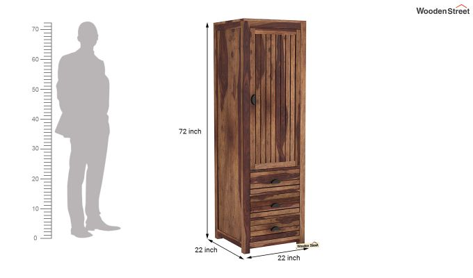 Felner 1 Door Multi Utility Wardrobe (Teak Finish)-6