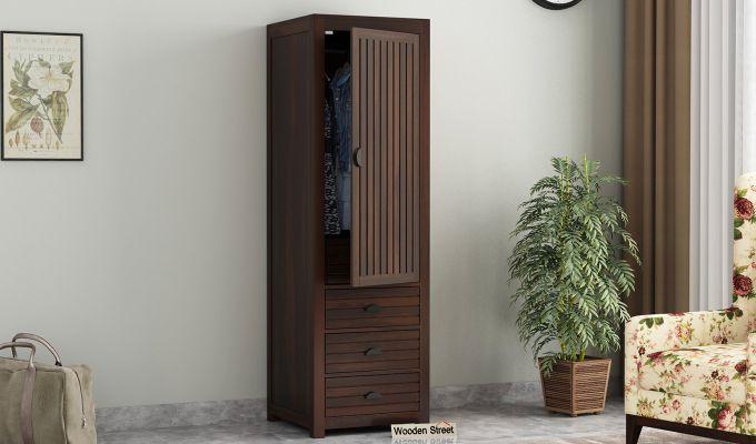 Felner 1 Door Multi Utility Wardrobe (Walnut Finish)-1