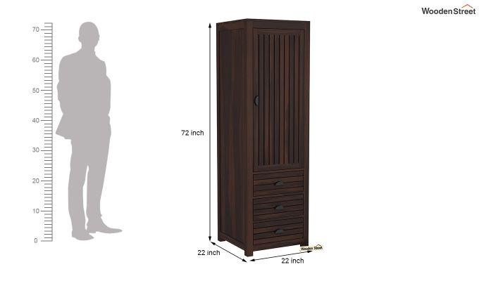 Felner 1 Door Multi Utility Wardrobe (Walnut Finish)-6