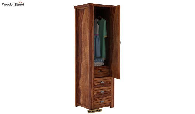 Felner 1 Door Multi Utility Wardrobe (Teak Finish)-3