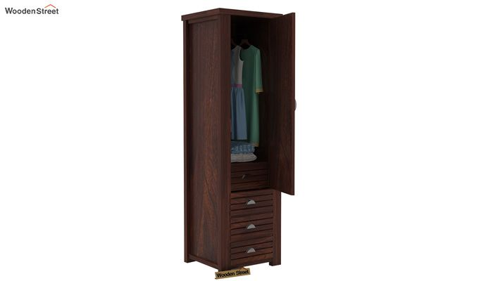 Felner 1 Door Multi Utility Wardrobe (Walnut Finish)-4