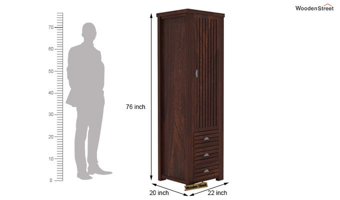 Felner 1 Door Multi Utility Wardrobe (Walnut Finish)-5