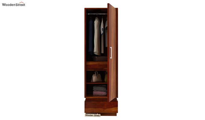 Florian 1 Door Multi Utility Wardrobe (Honey Finish)-3