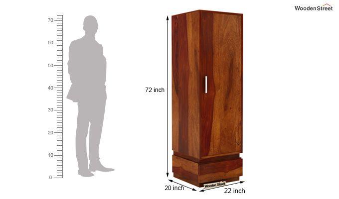 Florian 1 Door Multi Utility Wardrobe (Honey Finish)-4
