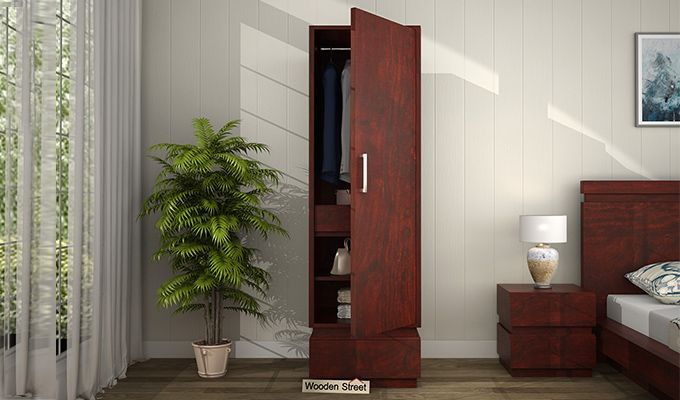 Florian 1 Door Multi Utility Wardrobe (Mahogany Finish)-1