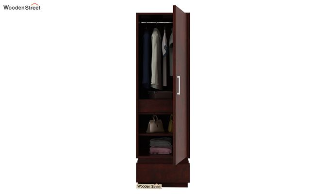Florian 1 Door Multi Utility Wardrobe (Mahogany Finish)-4