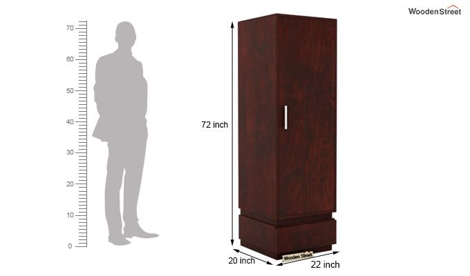 Florian 1 Door Multi Utility Wardrobe (Mahogany Finish)-5