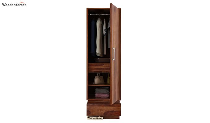 Florian 1 Door Multi Utility Wardrobe (Teak Finish)-3
