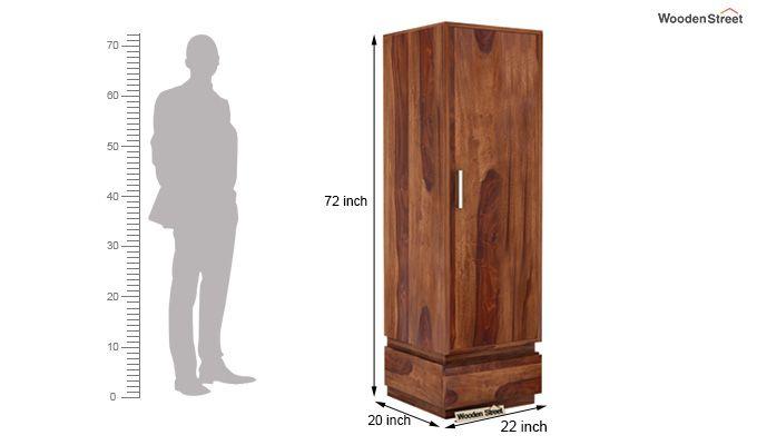 Florian 1 Door Multi Utility Wardrobe (Teak Finish)-4