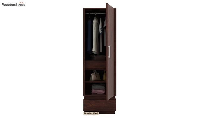 Florian 1 Door Multi Utility Wardrobe (Walnut Finish)-3