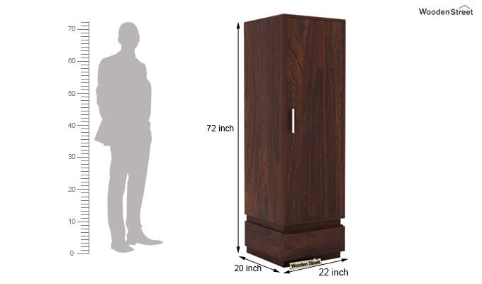 Florian 1 Door Multi Utility Wardrobe (Walnut Finish)-4
