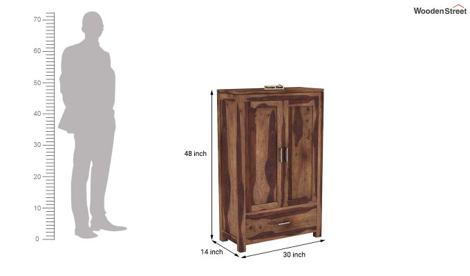Heimo Small Size Wardrobe (Teak Finish)-6
