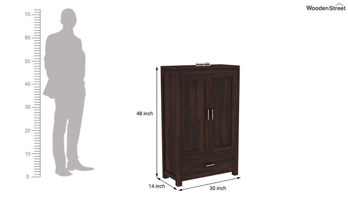 Heimo Small Size Wardrobe (Walnut Finish)-6