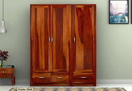 wooden wardrobe with 3 doors online