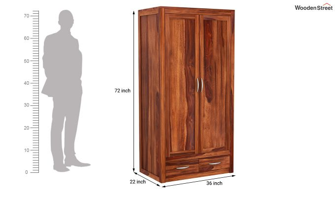 Holden Multi Utility Wardrobe (Honey Finish)-9