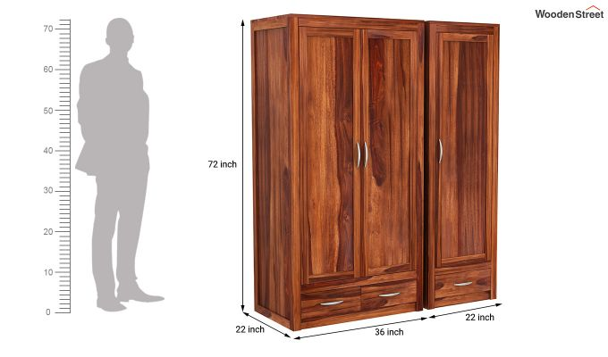 Holden Multi Utility Wardrobe (Honey Finish)-10