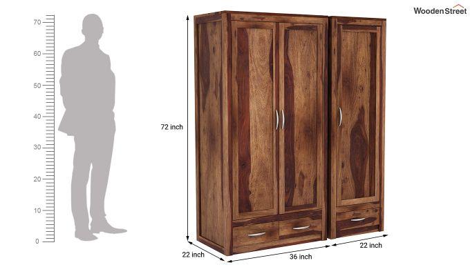 Holden 3 Door Multi Utility Wardrobe (Teak Finish)-10