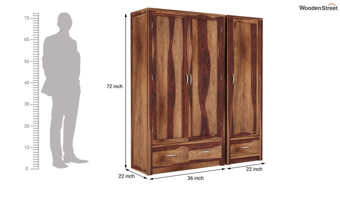 Holden Multi Utility Wardrobe (Teak Finish)-6