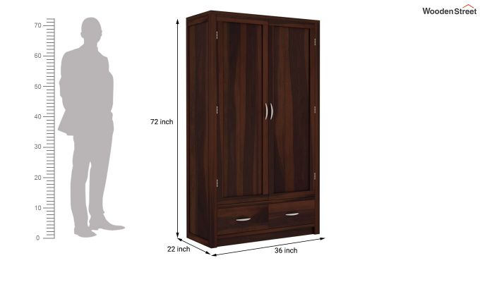 Holden 2 Door Multi Utility Wardrobe (Walnut Finish)-5