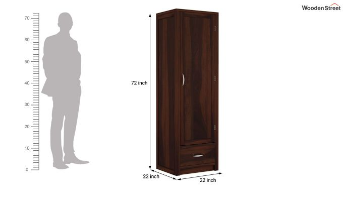 Holden 1 Door Multi-Utility Wardrobe (Walnut Finish)-5