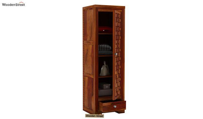 Howler 1 Door Multi-Utility Wardrobe (Honey Finish)-3
