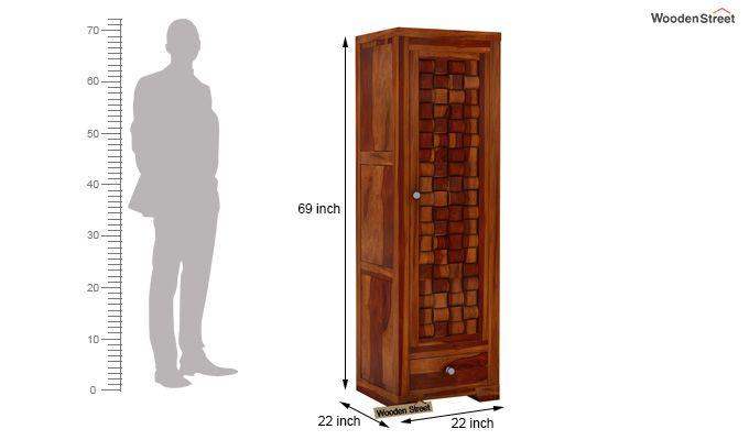 Howler 1 Door Multi-Utility Wardrobe (Honey Finish)-4