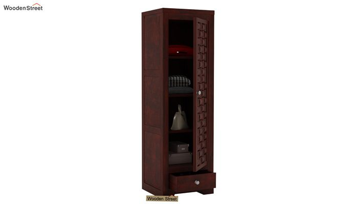 Howler 1 Door Multi-Utility Wardrobe (Mahogany Finish)-3