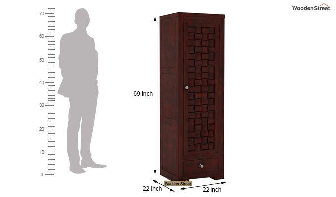 Howler 1 Door Multi-Utility Wardrobe (Mahogany Finish)-4