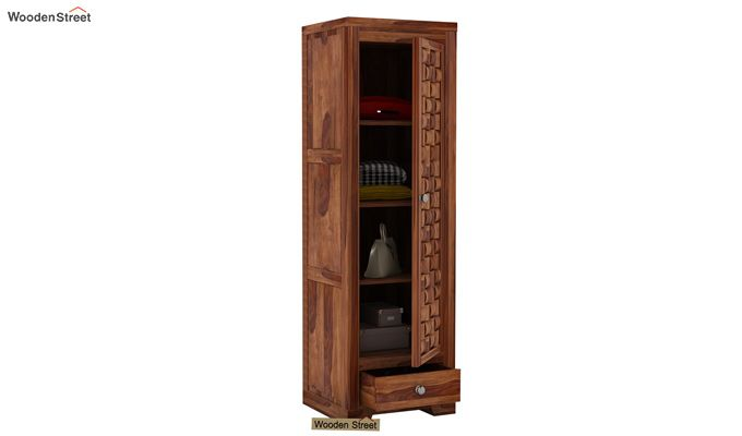 Howler 1 Door Multi-Utility Wardrobe (Teak Finish)-3