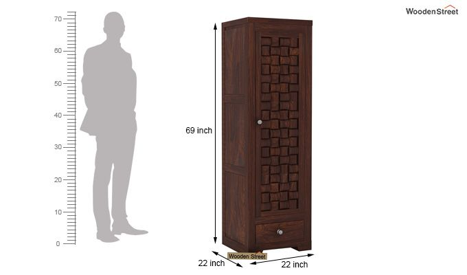 Howler 1 Door Multi-Utility Wardrobe (Walnut Finish)-5