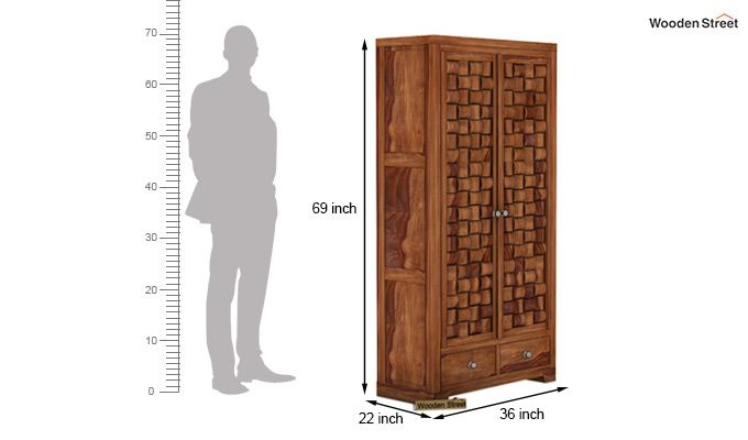 Howler Multi Utility Wardrobe (Teak Finish)-5