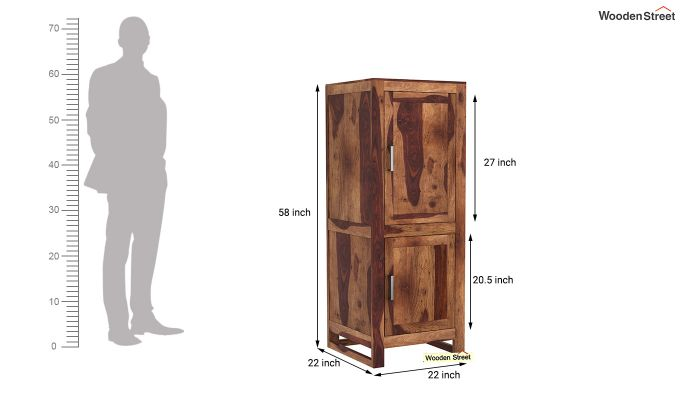 Lacey Medium Size Wardrobe (Teak Finish)-6