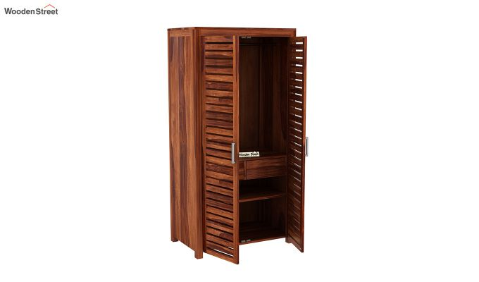 Lynet 2 Door Multi Utility Wardrobe (Honey Finish)-4