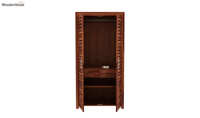 Lynet 2 Door Multi Utility Wardrobe (Honey Finish)-5